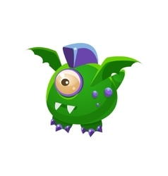 Green fantastic friendly pet dragon with one eye vector