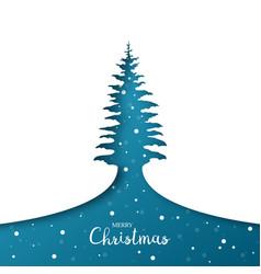 greeting card christmas tree paper art vector image
