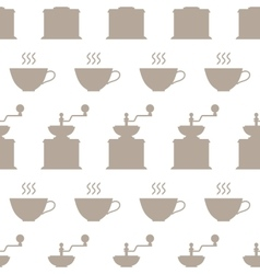 Hand grinders and coffee cups seamless pattern vector image