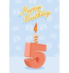 Happy birthday card with 5th birthday vector