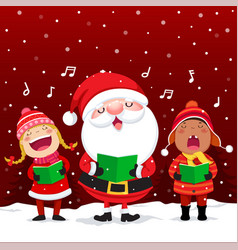 Happy kids with santa claus singing christmas vector