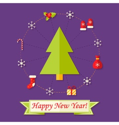 Happy New Year Card with Christmas Tree over vector image