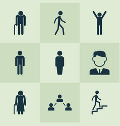 Human icons set collection of work man old woman vector
