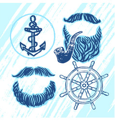 Ink hand drawn seafarers elements for party vector