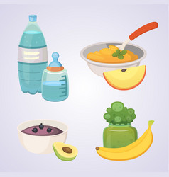 Juices and purees from green apples and broccoli vector