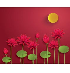 lotus with moon vector image vector image