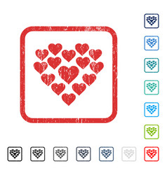 Love hearts shape icon rubber watermark vector
