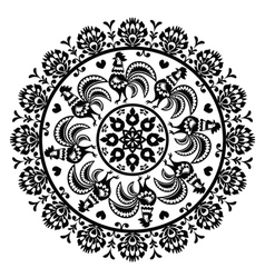 Monochrome Polish folk art pattern in circle with vector image vector image