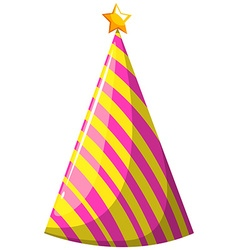 Party hat with pink and yellow striped vector image vector image