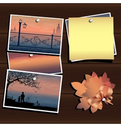 Photos on the wood wall vector
