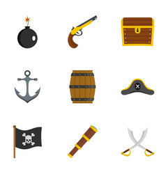 Pirates attributes icon set flat style vector