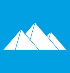 Pyramids icon white vector