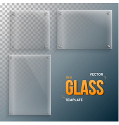 realistic glass frame template set vector image vector image