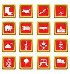russia icons set red vector image