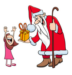 santa claus character with little girl vector image