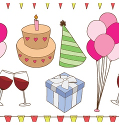 Seamless of birthday party elements vector image