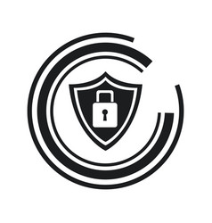 Security technology padlock shield internet line vector