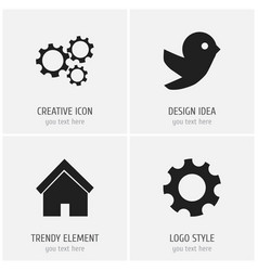 set of 4 editable network icons includes symbols vector image