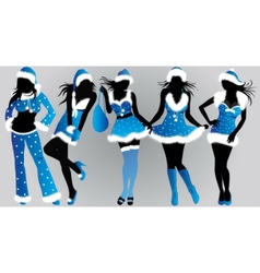 set of christmas girls- vector image vector image