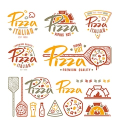 Set of pizzeria labels badges and design elements vector image vector image