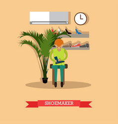 Shoemaker working in workshop flat vector