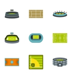 Sports stadium icons set flat style vector image