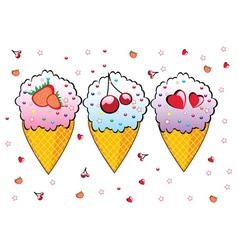 three ice creams vector image