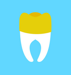 Tooth with gold dental crown isolated dentist vector