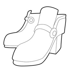 Two boots icon outline style vector