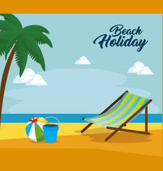 wooden beach chair on a beach landscape design vector image