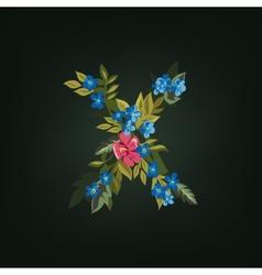 X letter flower alphabet colorful font vector