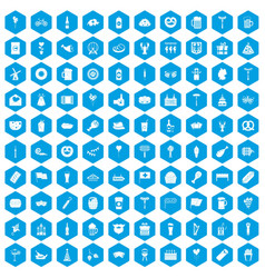 100 beer party icons set blue vector