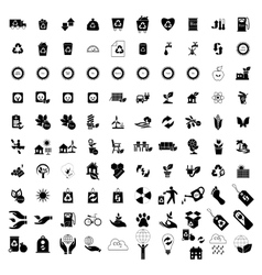 100 Eco icons set vector image vector image