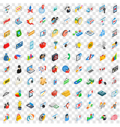 100 it business icons set isometric 3d style vector