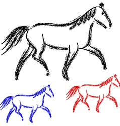 horses outlines collection vector image