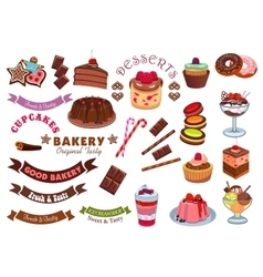 Pastry and bakery shop cafe emblem design element vector