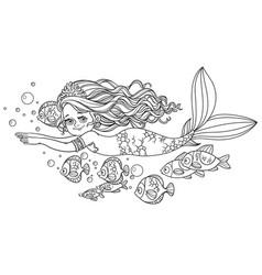 Beautiful little mermaid girl swim with fish vector