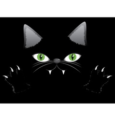 Black cat face with paw vector