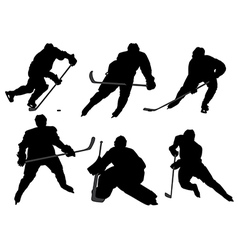 Ice Hockey Player Silhouette vector image