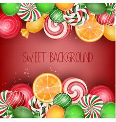 Sweets background with orange slice vector