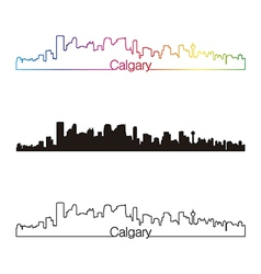Calgary skyline linear style with rainbow vector