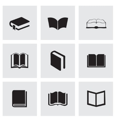 Black schoolbook icons set vector