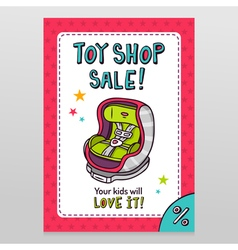 Toy shop sale flyer design with baby car seat vector