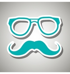 Mustache and glasses icon design vector