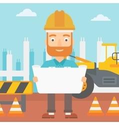Engineer holding a blueprint vector
