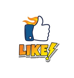 Thumb up hot fire hand gesture sign cartoon vector