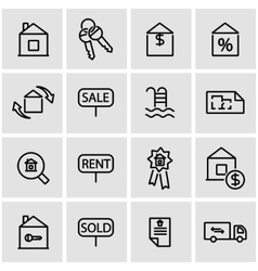 Line real estate icon set vector