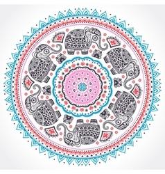 Indian ethnic mandala ornament with tribal aztec vector