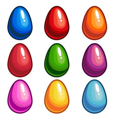 a set of colored eggs vector image vector image