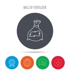 Bag with fertilizer icon fertilization sack vector